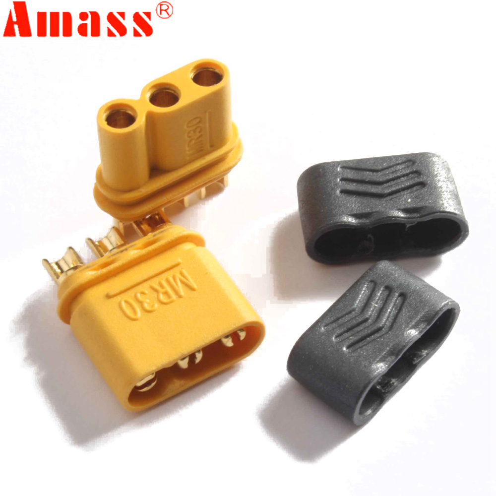 5pair AMASS MR30 Male Female Connector Plug with Sheath for RC Lipo Battery RC Multicopter Airplane(China)