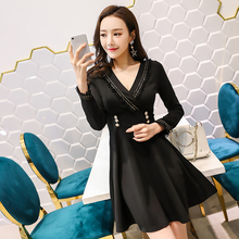 Black V Neck Dress Autumn Winter Korean Style Buttons Long Sleeve Formal Dress Women Elegant S-XL Office Lady OL Mini Robe Sexy simple black long sleeve dress autumn winter new s xl korean style formal dress women elegant vintage mini office dresses ladies
