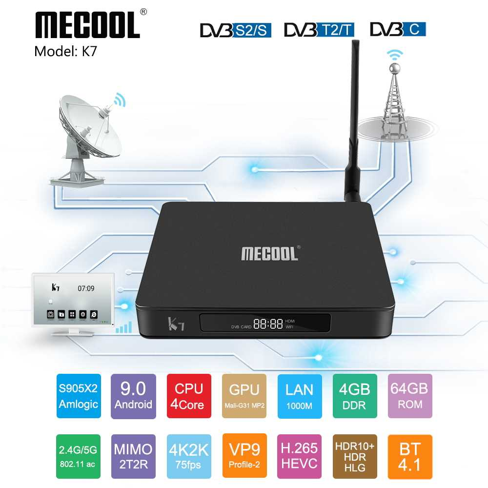 MECOOL K7 Android 9.0 TV Box w/1000 M DVB S2 T2, 2.4G/5G WIFI 4GB DDR4 64GB 4K Amlogic S905X2 Quad Core TVBOX lecteur médial intelligent