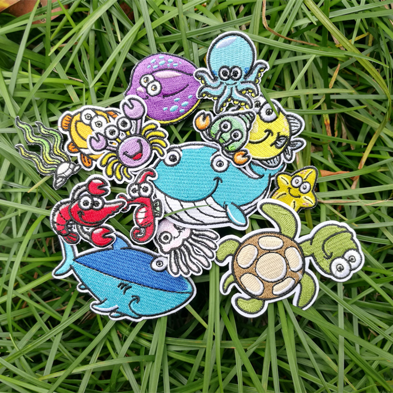Marine Animal Patch Embroidered Embroidered Cloth Stickers Clothing Accessories T-shirt Jacket Decoration Hole Decals DIY