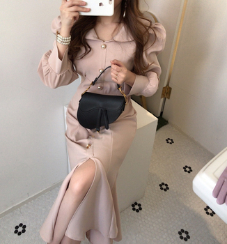 Women spring Vintage Sashes mermaid Party Dress Long Sleeve Sexy Solid Elegant french style 2020 New