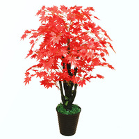 Fake plants Plastic Bonsai Plant Artificial Potted Fake Tree Living Room Home Decoration Green Plant Red Maple Artificial Tree