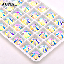 JUNAO 8 10 12 14 16 18 mm Sewing Crystal AB K9 Glass Rhinestone Flatback Stones Applique Sewn Strass Needlework Crafts