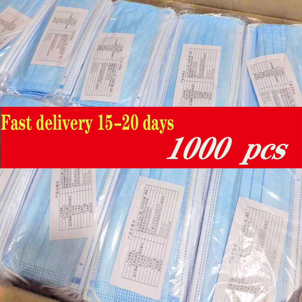 1000 Pcs Masque Pm25 Disposable Face Masks 100 Piece Elastic Soft Breathable Face Mask 3 Ply Protective Non-woven Proof Flu Mask