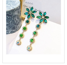 fashion female crystal Noble temperament drop earrings with Green flowers boho wedding jewelry long dangle