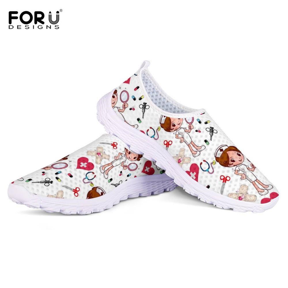 FORUDESIGNS Sneakers Nurse-Doctor Flats-Shoes Slip-On Comfortable Casual Women Light-Weight