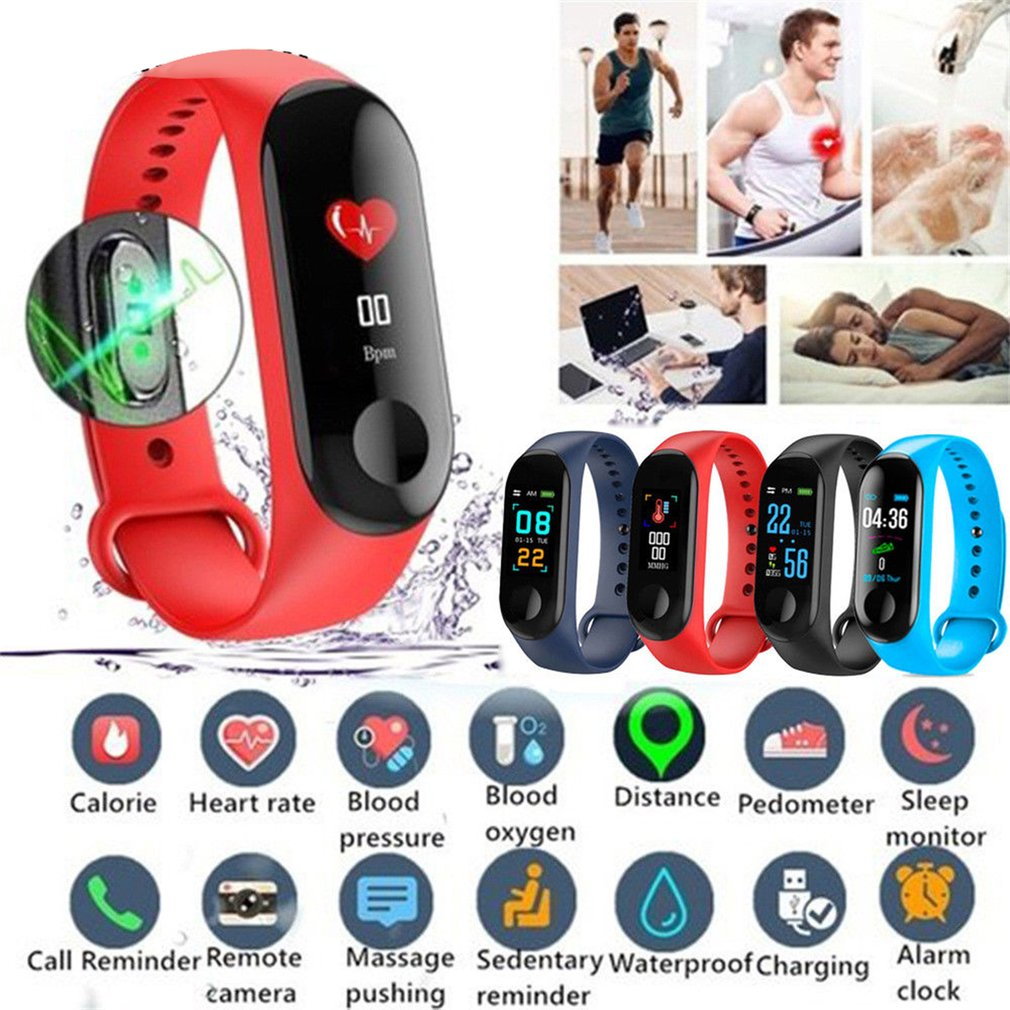 M3 Smart Band Fitness Tracker Blood Oxygen Monitor Waterproof Wristband Remote Camera Pedometer 0.96 Sport Bracelet for Android image