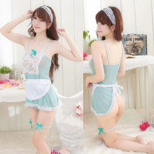 Passionate Sexy Lingerie Lady Uniform Cosplay Sexy Maid Set Transparant Erotische Nachtkleding Porno Babydoll Dress Lace Mesh Strik(China)