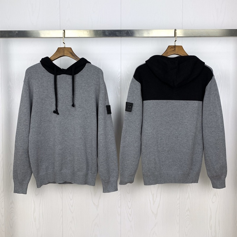 2019 Best Quality Black Compass Logo Patched Women Men Hooded Sweater Color Blocking Men Casual Wools Sweater Pullover