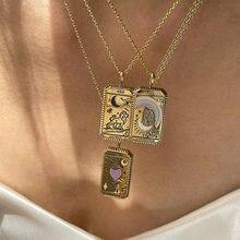 Colgante de amuleto cuadrado para mujer, tarjetas de Tarot, Collar Vintage, joyería para mujer, regalo, Collar chapado en oro para mujer, cadena del zodiaco, Luna, amor