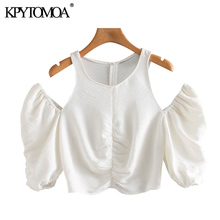 KPYTOMOA Women 2020 Sexy Fashion Hollow Out Cropped Blouses Vintage O Neck Puff Sleeve Back Zipper F