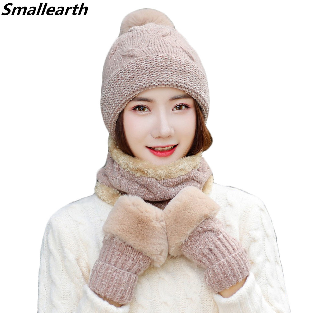 Woman Winter Plush Thicken Knitted Hat And Gloves Sets For Women Pus Velvet Warm Girls Pompoms Beanie Scarf Gloves 3 Pieces/Set