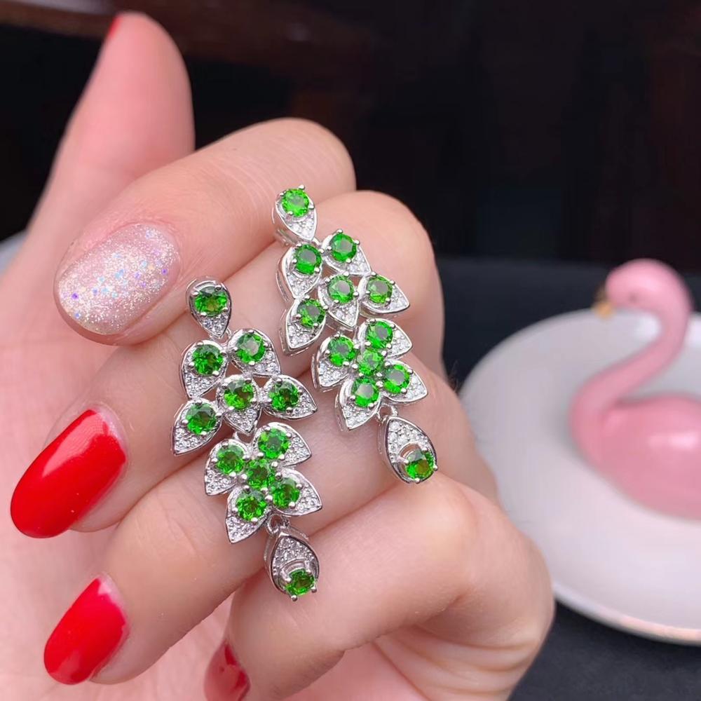 Luxueux épais glands feuille naturel vert diopside boucles d'oreilles goutte 925 argent naturel pierres précieuses boucles d'oreilles femmes fille fête bijoux
