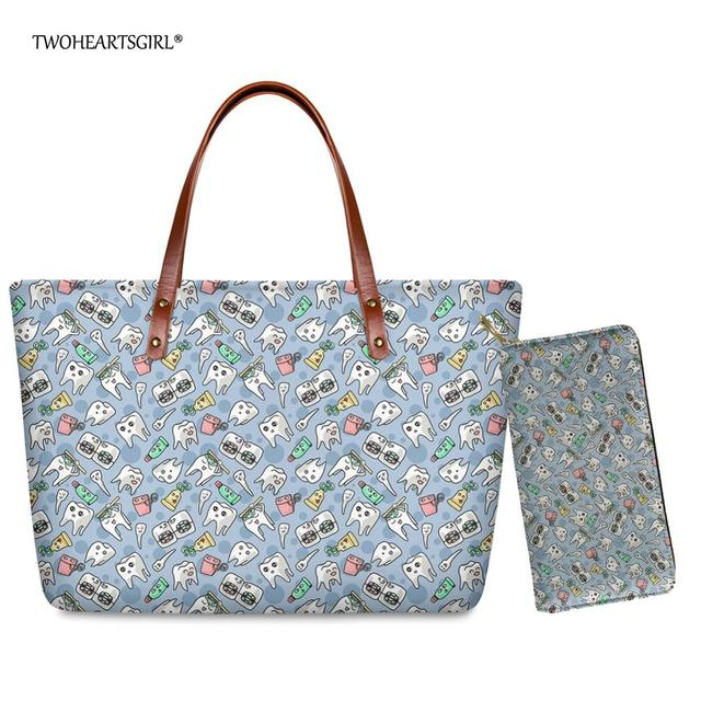 Deuxheart sgirl concepteur dentaire modèle fourre-tout sacs Art bleu clair haut-poignée sacs pour femmes décontracté femme dames épaule sacs à main