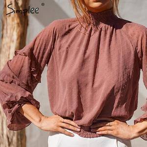 Image 1 - Simplee polka dot print blusa feminina camisa babados manga longa feminino para camisas de cintura alta elástica senhoras blusa camisas feminina