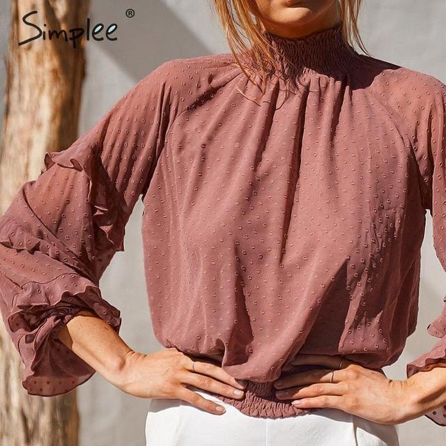 Simplee polka dot print blusa feminina camisa babados manga longa feminino para camisas de cintura alta elástica senhoras blusa camisas feminina