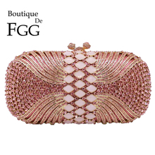 Boutique De FGG Pink Diamond Women Evening Bags Bridal Crystal Clutch Handbags and Purses Wedding Banquet Dinner Minaudiere Bag