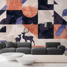 Beibehang, pintura decorativa moderna personalizada, vintage, azul o naranja, fondo abstracto de alce, papel tapiz de pared