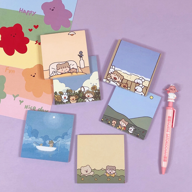 60Sheets/Lot Kawaii Korean INS Lovely Soft Girl Memo Pad N Times Sticky Notes Portable Notepad School Office Supply