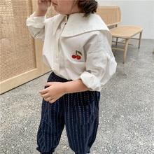 Левый принца детская одежда осенняя одежда новое платье для девочек с большими лацканами рубашка с изображением вишен детское вышивка белая рубашка