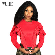 WUHE Cute Sports Casual Ruffled Short Top Fashion Long Sleeve O-neck Elegant Hollow Out Women Crop for Feamle Plus Size XXL