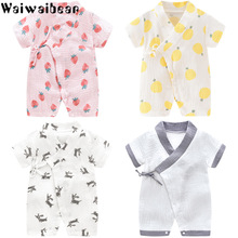 Waiwaibear Baby Rompers Short Sleeve Newborn Infant Boy Girl Lacing Clothes Breathable Kimono Printed Jumpsuit Crawling