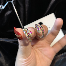 zircon  snake ear buckle retro simple earring trend jewelry hoop round earrings hoops huggie