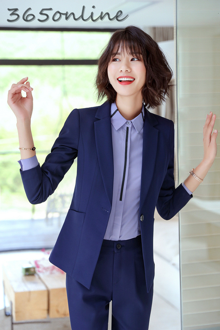 Formal Professional Women Business Suits OL Styles Autumn Winter Ladies Office Pantsuits Career Interview Job Work Wear Blazers