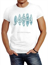 Herren T-Shirt Aloha Planches de Surf Hawaii Surf Été Slim Fit Coton Surdimensionné hauts Tee Shirt(China)