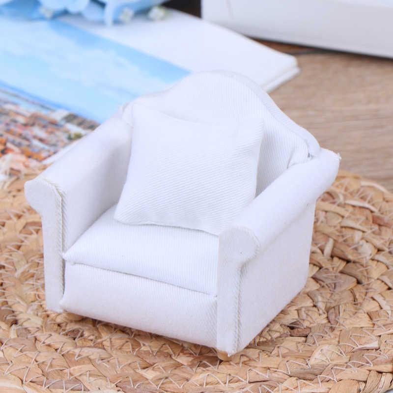 1/12 кукольный домик белый диван со спинкой подушка мини-диван стул мебель модель игрушки для кукольного дома украшения Миниатюрные аксессуары