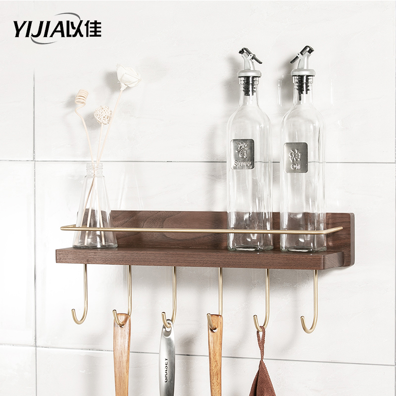 Solid wood kitchen rack wall-mounted punch-free household seasoning kitchenware storage storage shelf image