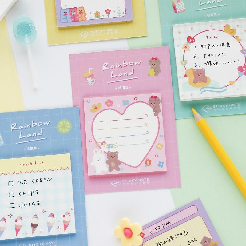 Mohamm Rainbow City Series Kawaii Cute Sticky Notes Memo Pad Diary Stationery Flakes Scrapbook Decorative Sticky Notes 30PCS