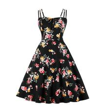 Cotton Swing Rockabilly 50s Vintage Dress VD1416 Floral Print Sexy Beach Women Plus Size Dress