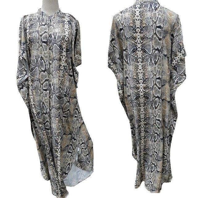 Cover-ups 2021 Kaftan Beach Print SnakeSkin Swimsuit cover up Kimono Plage Beach Robe Femme Long Dress Sarong Dress Beachwear 5