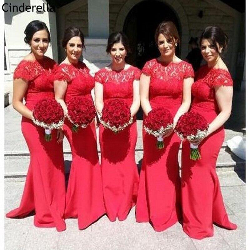 Cinderella Red Scoop Cap Sleeves Lace Applique Satin Covered Button Mermaid   Bridesmaid     Dresses   Wedding Party   Bridesmaid     Dresses