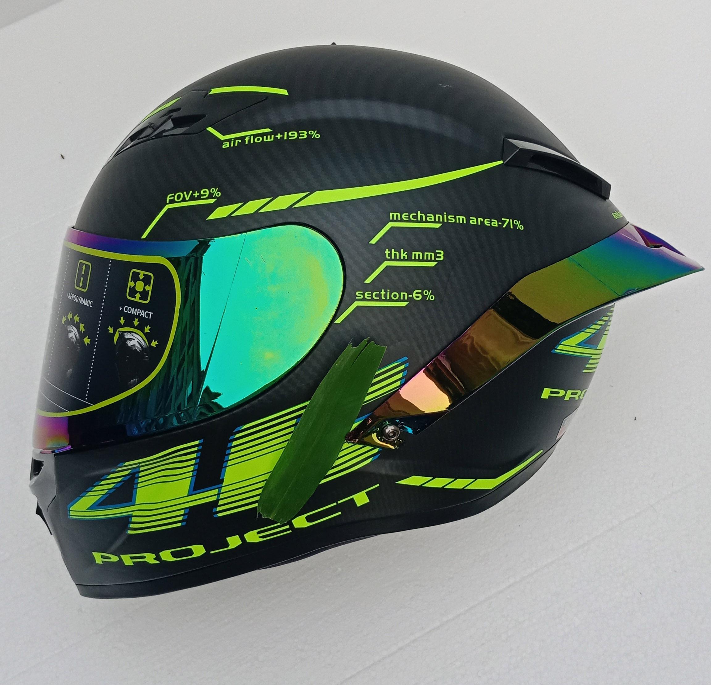 Full Face Carbon Fiber Motorcycle Helmet Professional Racing Helmet Kask DOT Rainbow Visor Motocross Off Road Touring