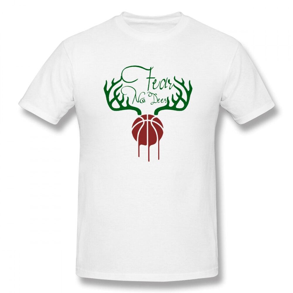 100% cotton Fear The Deer Slogan print casual mens o-neck t shirts fashion Mens Basic Short Sleeve T-Shirt