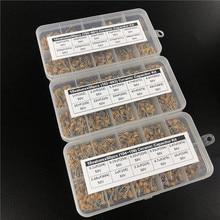 1500pcs 30Valuesx50 10pF ~ 10uF (100 ~ 106) A più strati/Monolithic Ceramic Capacitor kit Assortito con 3 scatola di immagazzinaggio