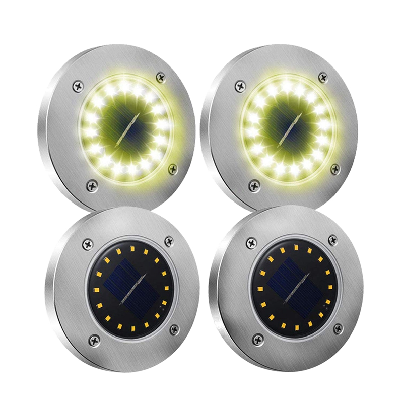 4 Pack Solar Garden Lights, 16 Led Solar Ground Lights Waterproof Patio Light Underground Sensing Landscape Lights With Dark Sen