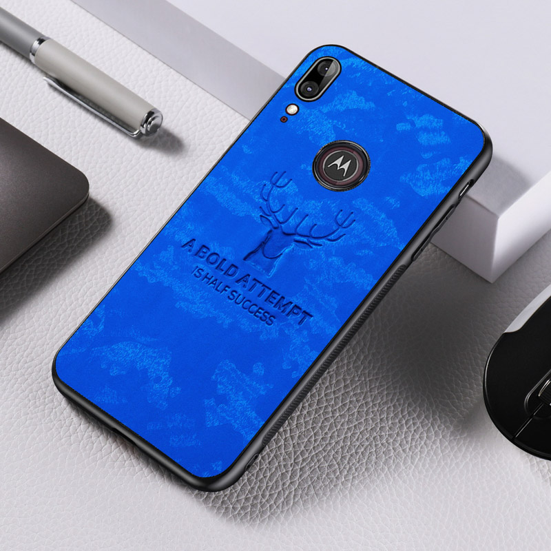 For Motorola E6 Plus Case Texture Cloth Back Deer Covers For Moto E5 G7 Play Europe Edition G7 Plus Power Cases Bumper Coque