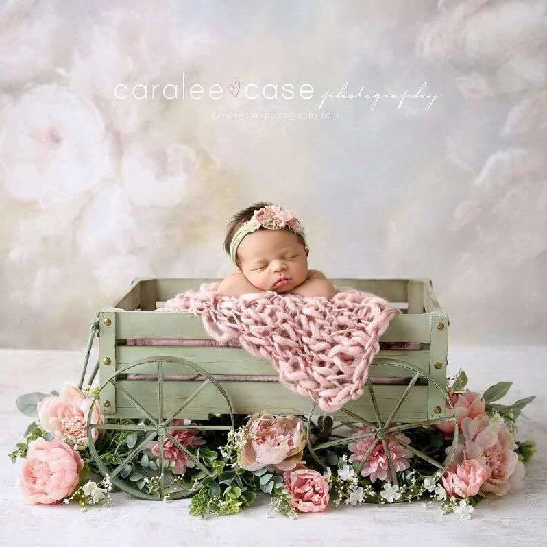 New newborn photography props four-wheeled iron art convenient trolley full moon baby on-site photograph wooden trolley props