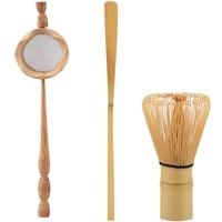 Natural Bamboo Tea Strainer Matcha Whisk Brush Green Tea Powder Whisk Scoop Set Tea Utensils Set Kitchen Accessories 3Pcs|Tea Strainers| |  -