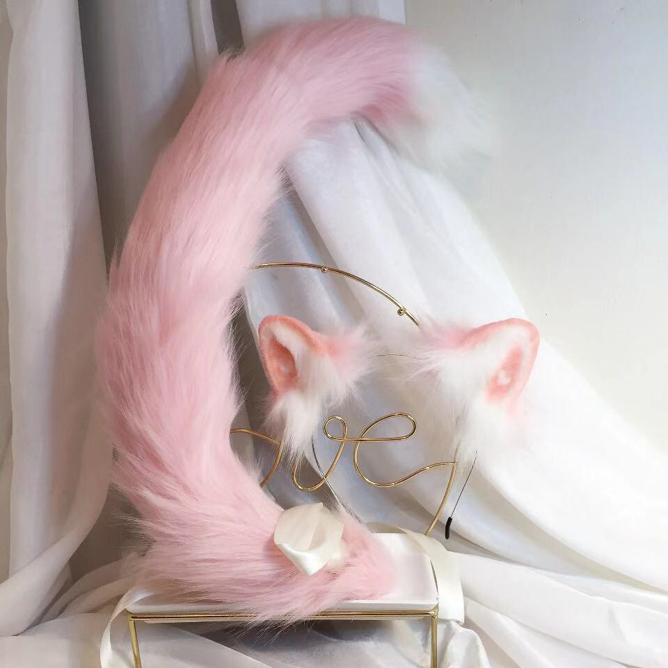 New Pink Cat Anime Simulation Beast Ear Beast Tail Wolf Ear Cat Ear Fox Ear Hair Hoop Custom COSPLA