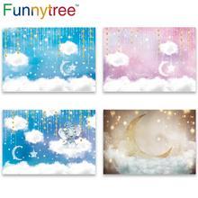 Funnytree sky moon Cloud fairy tale star newborn baby shower birthday background kid photography backdrops photophone Home Decor
