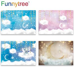 Image 1 - Funnytree sky moon Cloud fairy tale star newborn baby shower birthday background kid photography backdrops photophone Home Decor
