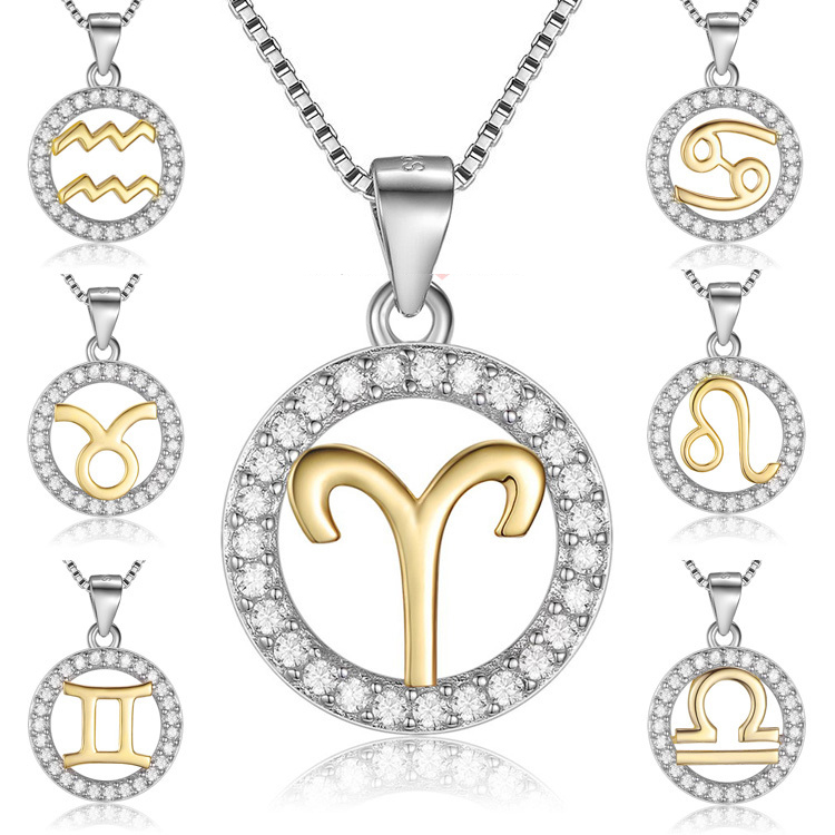 Two-Tone Pure 925 Sterling Silver  Horoscope colares CZ Signs Of Zodiac Charm Necklace for Women Constellations Pendant Necklace