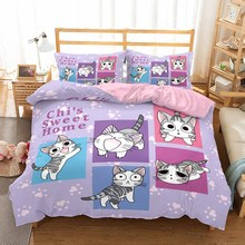 Cartoon Cats Bedding Set 2/3 Piece Animals Bed Linen Set Pillowcase Kids Bedroom Bed Cover Full Queen King Double King Size designer modern fabric bed soft bed double bed king size bedroom furniture