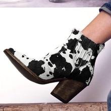Винтажные ботинки из коровьей кожи с принтом; большие размеры 35-43; женская обувь; осенне-зимние замшевые ботинки без застежки с острым носком; женская обувь