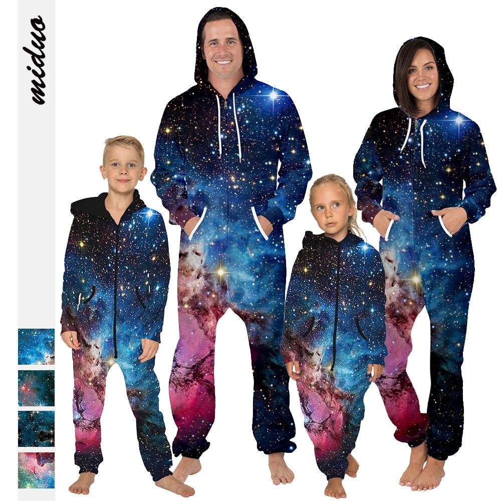 Starry sky digital printing parent-child fleece hooded jumpsuit loose large size pants