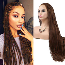 Braided Wigs Heat-Resistant Lace-Front Brown Black Women Box Long